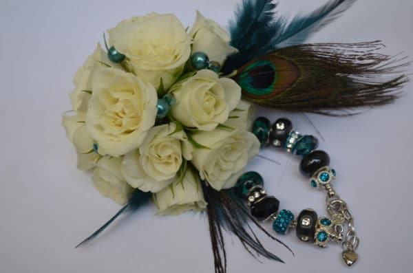 peacock wrist corsage